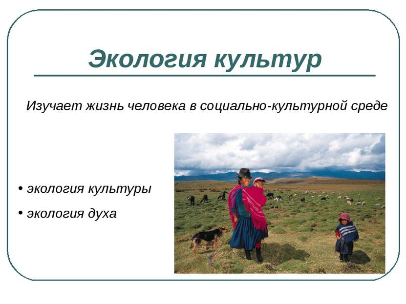 Экология культур Изучает жизнь человека в социально-культурной среде экология...