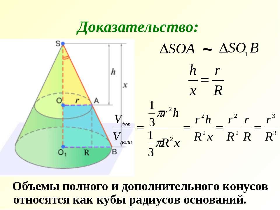 Объемы полного и дополнительного конусов относятся как кубы радиусов основани...