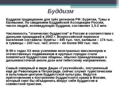 Буддизм Буддизм традиционен для трёх регионов РФ: Бурятии, Тувы и Калмыкии. П...
