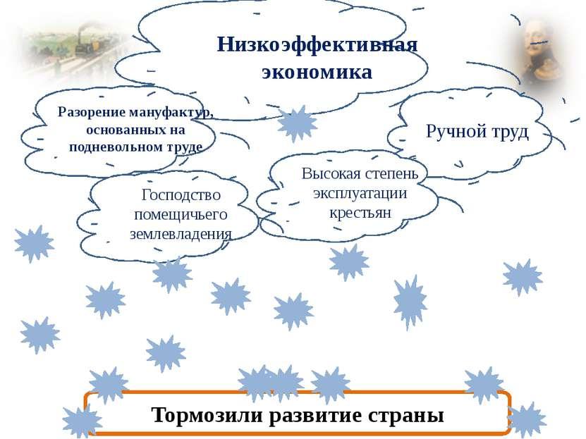 Низкоэффективная экономика Ручной труд Высокая степень эксплуатации крестьян ...