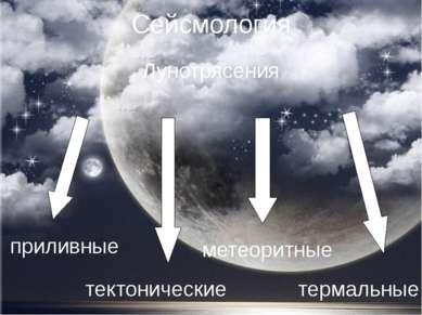 Сейсмология Лунотрясения приливные тектонические метеоритные термальные