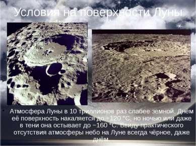 Условия на поверхности Луны Атмосфера Луны в 10 триллионов раз слабее земной....