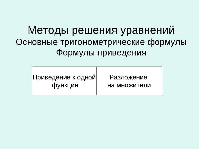 Методы решения уравнений Основные тригонометрические формулы Формулы приведен...