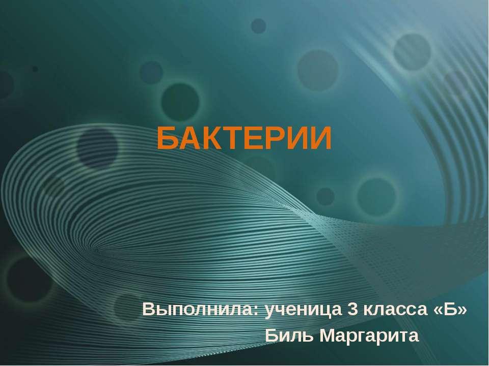 БАКТЕРИИ Выполнила: ученица 3 класса «Б» Биль Маргарита