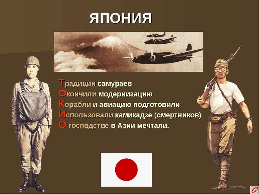 ЯПОНИЯ Традиции самураев Окончили модернизацию Корабли и авиацию подготовили ...