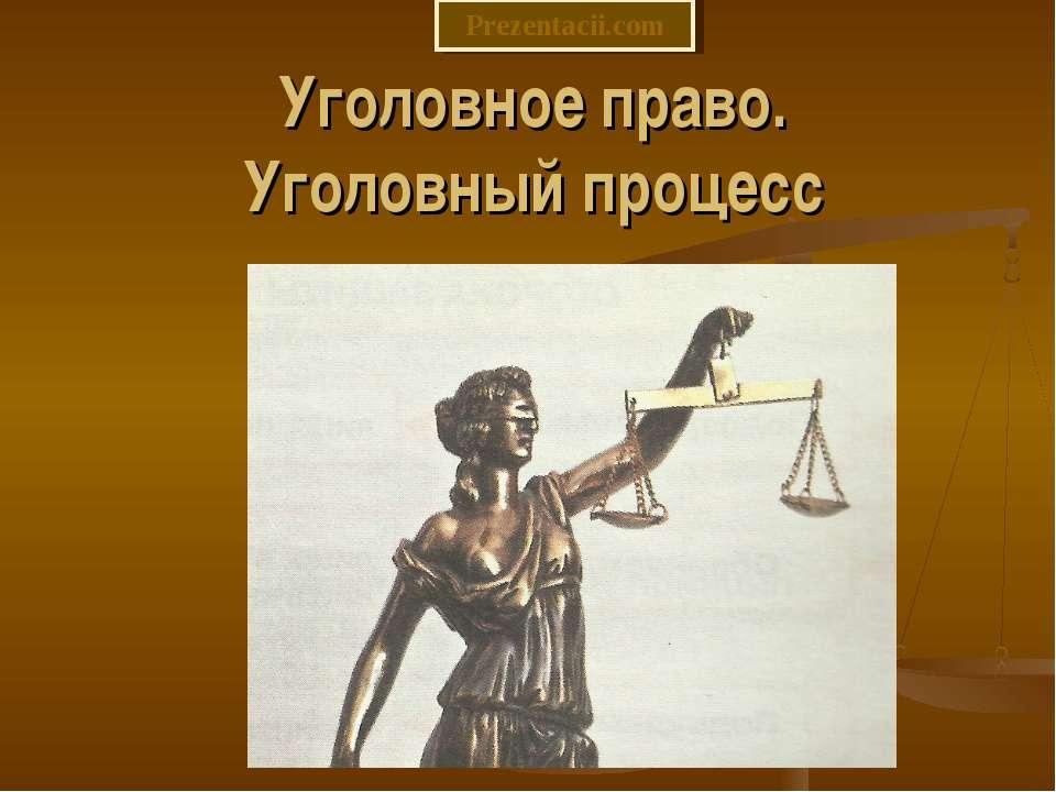 Уголовное право. Уголовный процесс