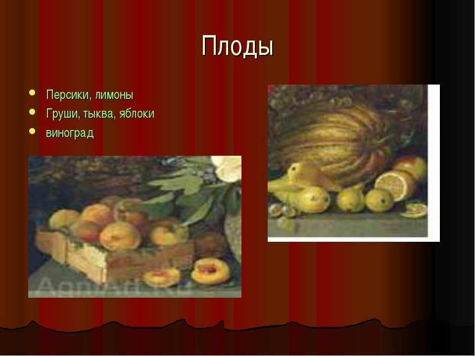 Плоды Персики, лимоны Груши, тыква, яблоки виноград