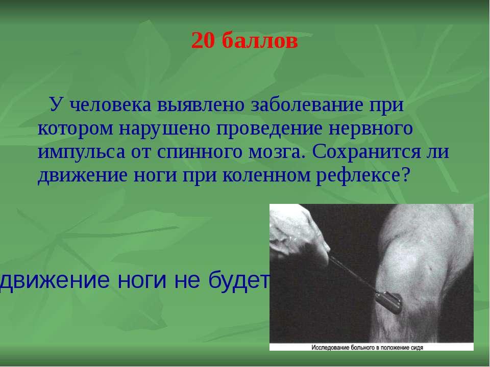 30 баллов У человека обнаружена опухоль в поясничном отделе спинного мозга. К...