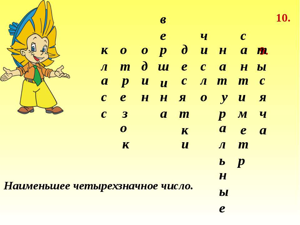9. 10. 9. Наименьшее четырехзначное число. к л а с с о з е р т к о о д и н в ...