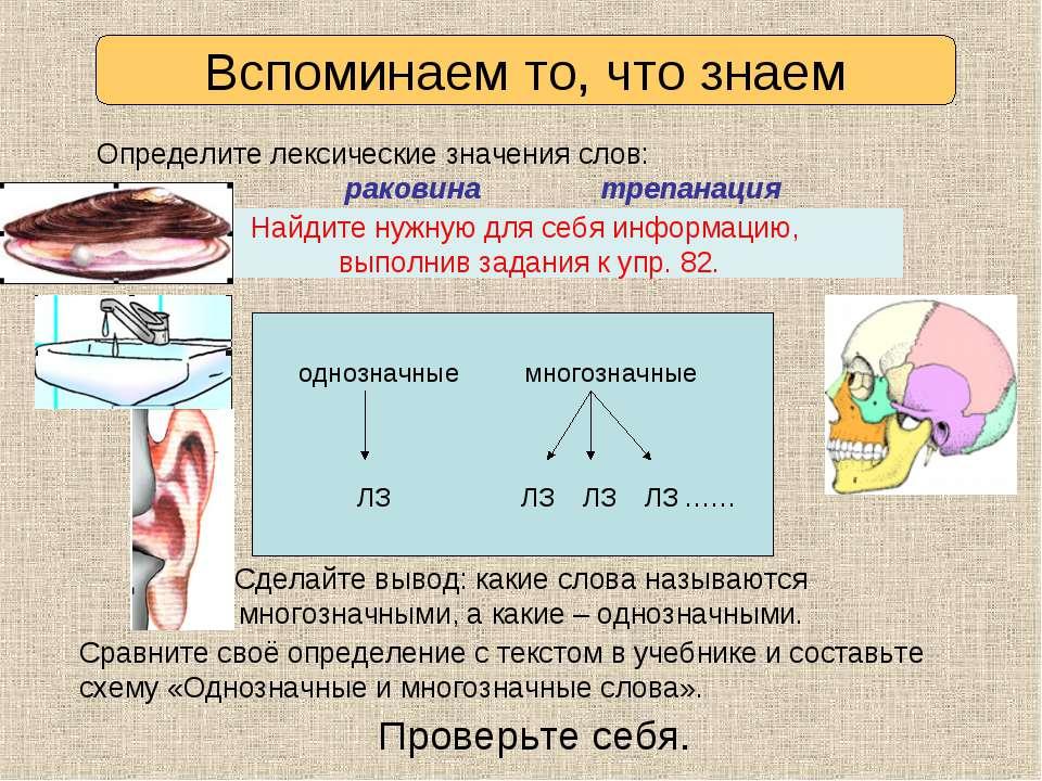 Раковина Трепанация 1) 1) 2) 3) 4) Определите лексические значения слов: рако...