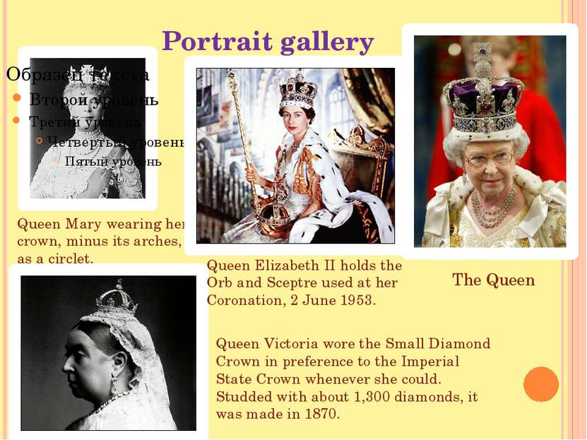 Portrait gallery Queen Mary wearing her crown, minus its arches, as a circlet...