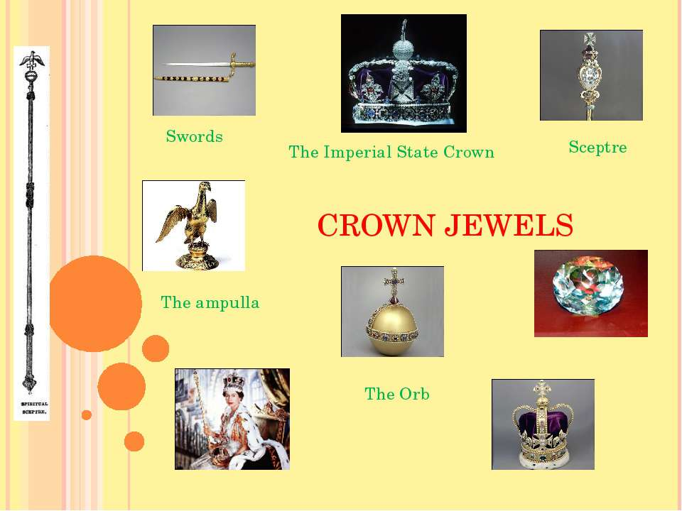 CROWN JEWELS The Orb Sceptre Swords The ampulla The Imperial State Crown