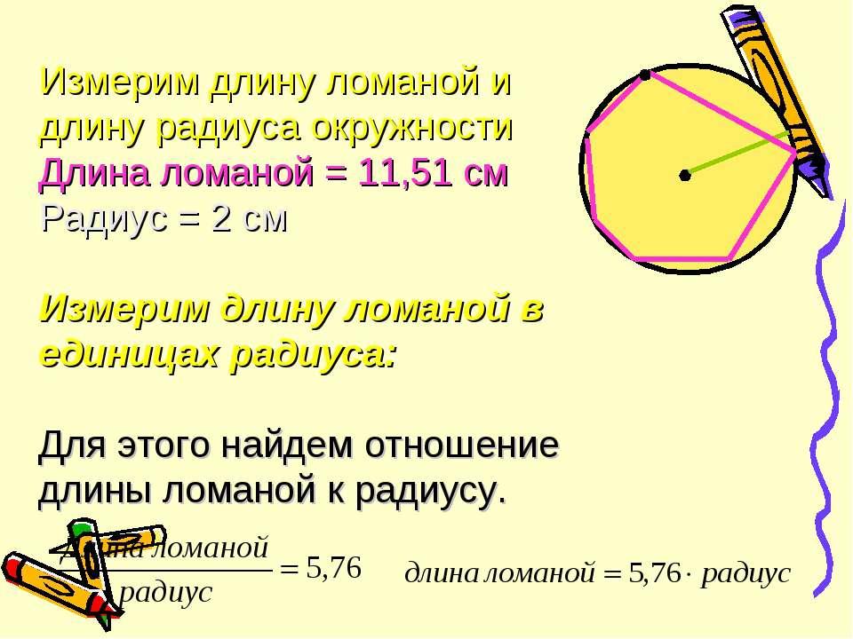 Измерим длину ломаной и длину радиуса окружности Длина ломаной = 11,51 cм Рад...