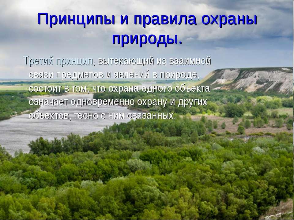 Принципы и правила охраны природы. Третий принцип, вытекающий из взаимной свя...