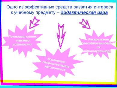 Одно из эффективных средств развития интереса к учебному предмету – дидактиче...