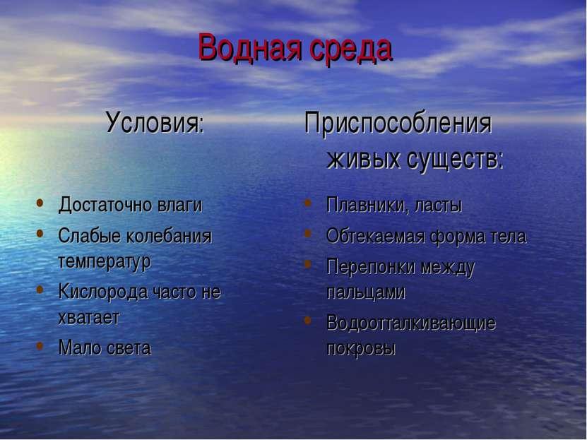 Водная среда Условия: Приспособления живых существ: Достаточно влаги Слабые к...