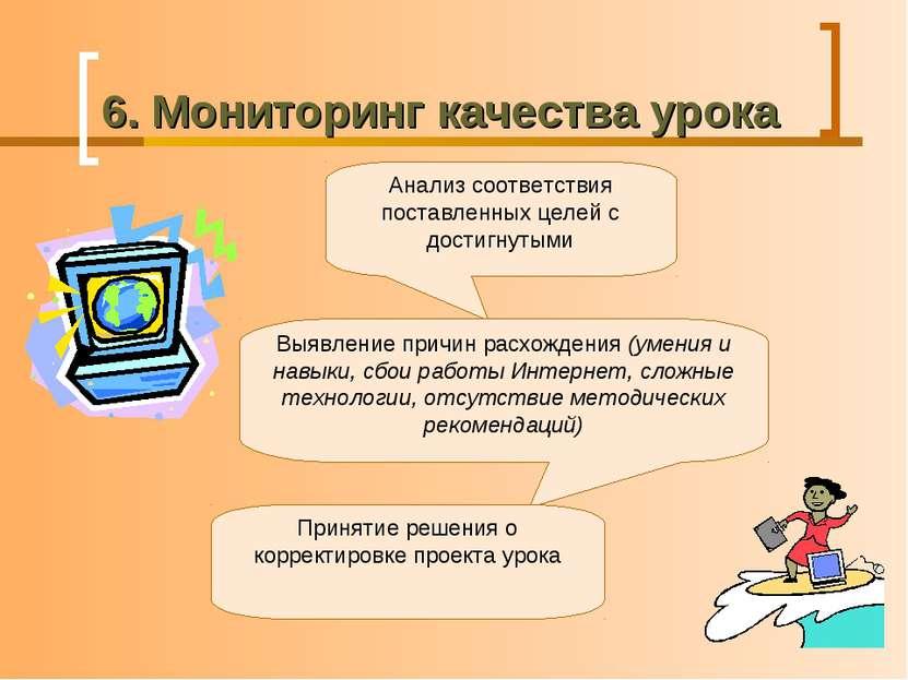 6. Мониторинг качества урока Анализ соответствия поставленных целей с достигн...