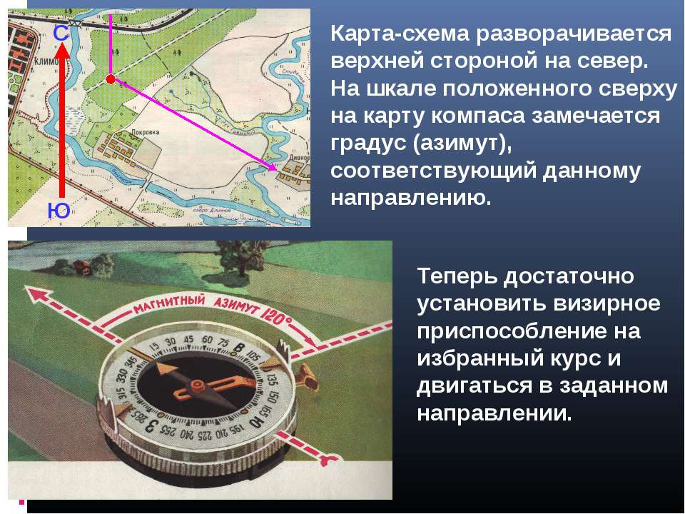 Карта-схема разворачивается верхней стороной на север. На шкале положенного с...