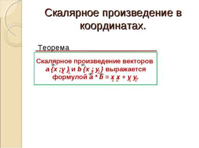 Скалярное произведение в координатах. Теорема Скалярное произведение векторов...