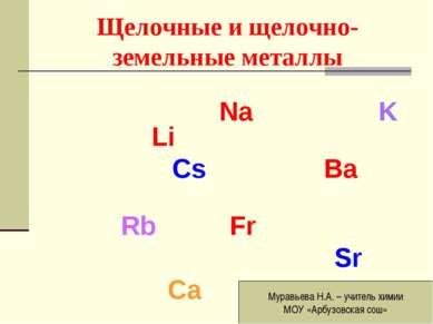 Щелочные и щелочно-земельные металлы Na K Li Cs Ba Rb Fr Sr Ca Муравьева Н.А....
