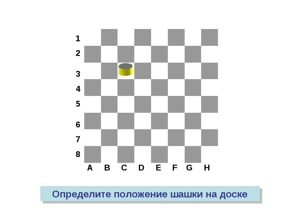 A B C D E F G H 1 2 3 4 5 6 7 8 Определите положение шашки на доске