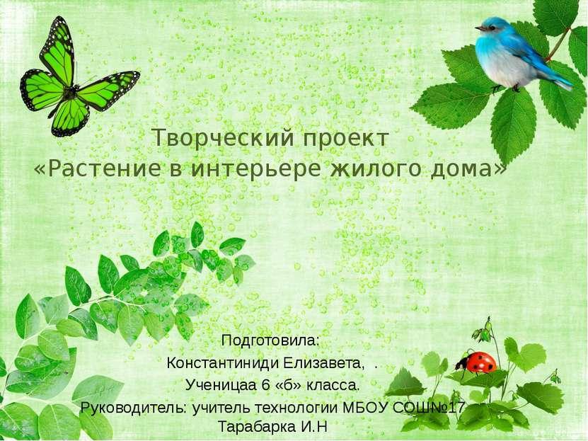 Творческий проект «Растение в интерьере жилого дома» Подготовила: Константини...