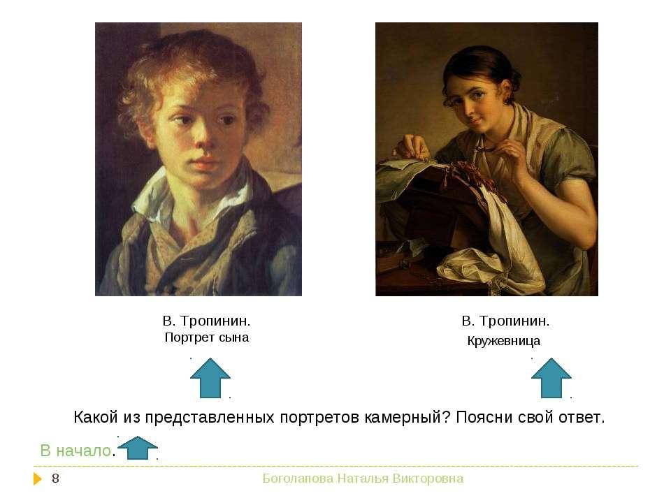 В. Тропинин. Кружевница В. Тропинин. Портрет сына Какой из представленных пор...