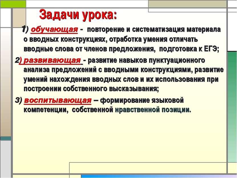 Задачи урока: 1) обучающая - повторение и систематизация материала о вводных ...