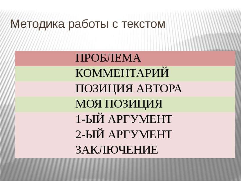 Методика работы с текстом ПРОБЛЕМА КОММЕНТАРИЙ ПОЗИЦИЯ АВТОРА МОЯ ПОЗИЦИЯ 1-Ы...