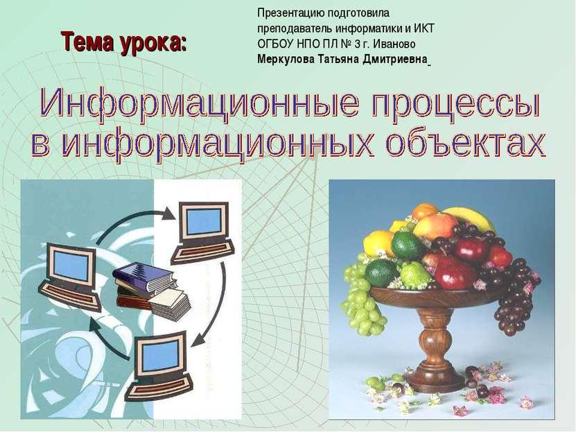 Тема урока: Презентацию подготовила преподаватель информатики и ИКТ ОГБОУ НПО...