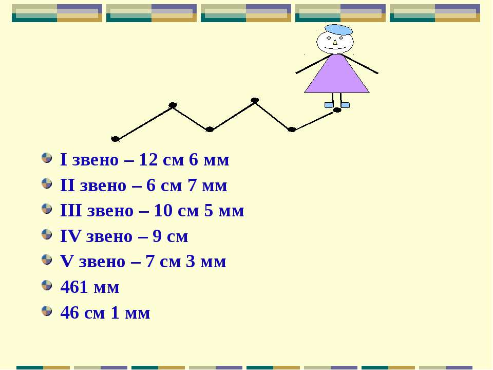 I звено – 12 см 6 мм II звено – 6 см 7 мм III звено – 10 см 5 мм IV звено – 9...