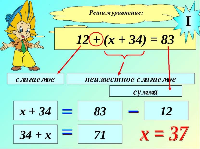 Решим уравнение: 12 + (х + 34) = 83 слагаемое неизвестное слагаемое сумма х +...