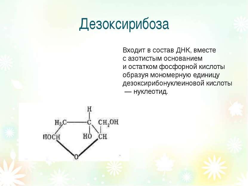 Дезоксирибоза Входит в состав ДНК, вместе с азотистым основанием и остатком ф...