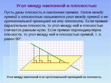 Пусть даны плоскость и наклонная прямая. Углом между прямой и плоскостью назы...