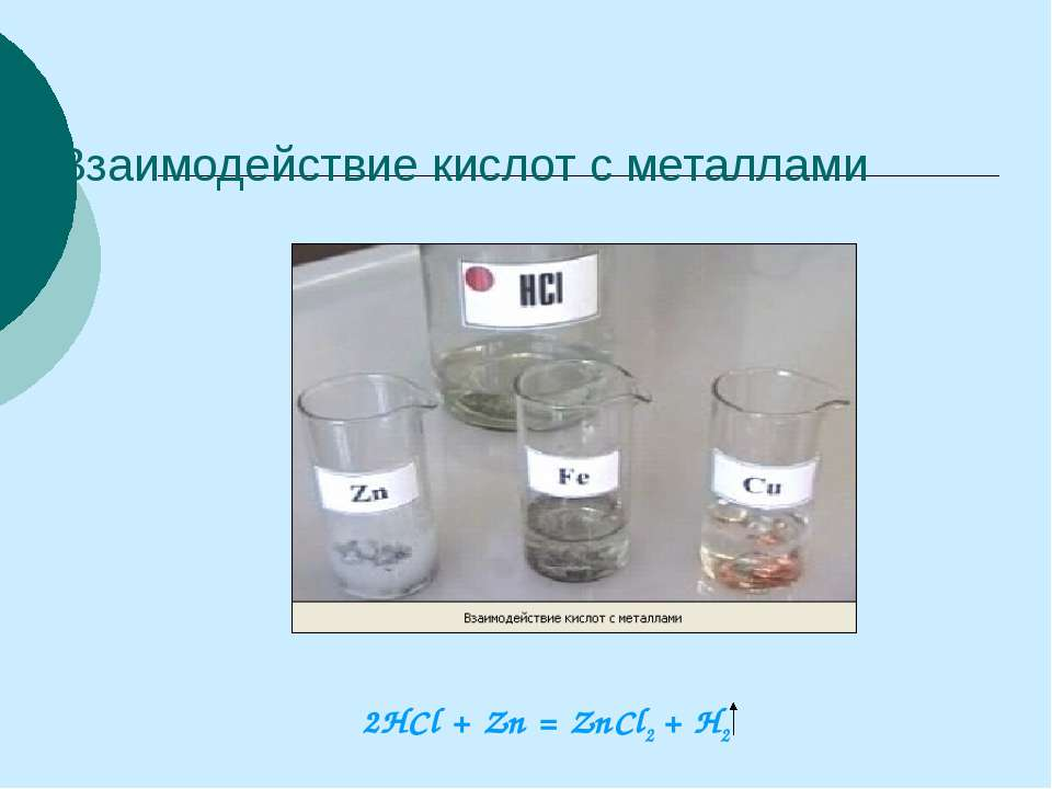 Взаимодействие кислот с металлами 2HCl + Zn = ZnCl2 + H2