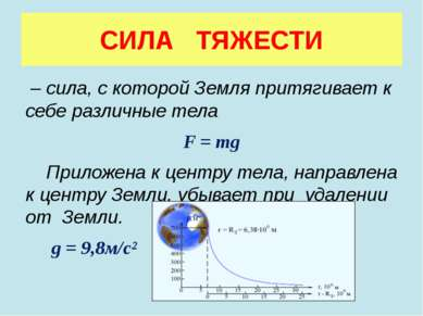 СИЛА ТЯЖЕСТИ – сила, с которой Земля притягивает к себе различные тела F = mg...