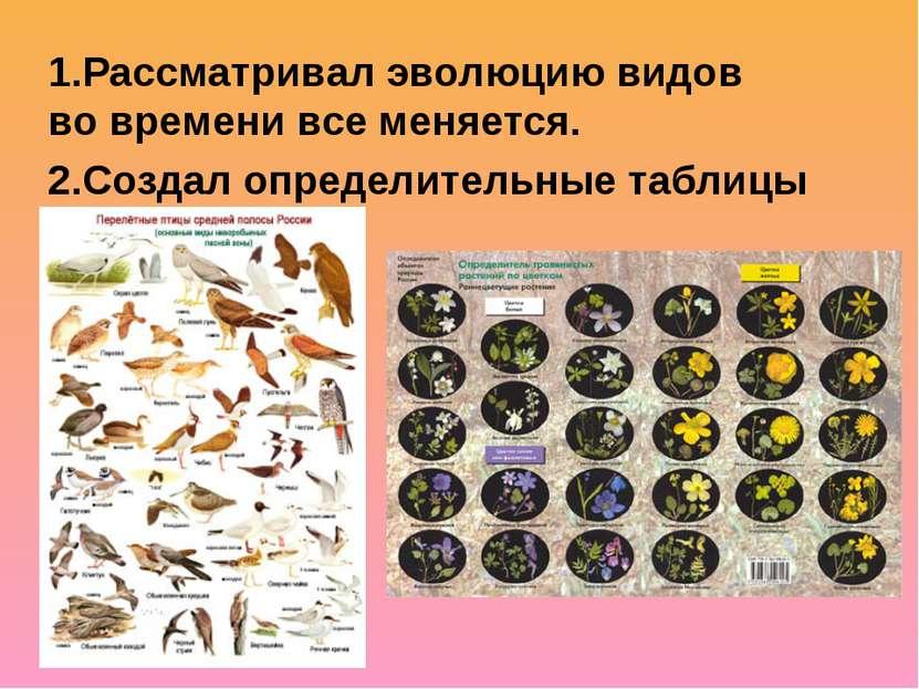 1.Рассматривал эволюцию видов во времени все меняется. 2.Создал определительн...
