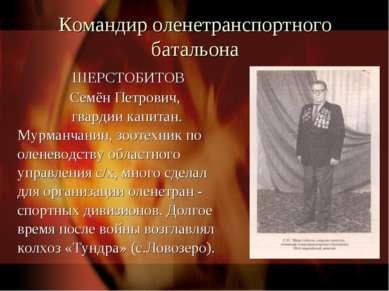 Командир оленетранспортного батальона ШЕРСТОБИТОВ Семён Петрович, гвардии кап...