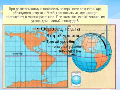 При развертывании в плоскость поверхности земного шара образуются разрывы. Чт...