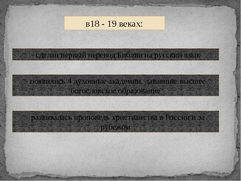 в18 - 19 веках: - сделан первый перевод Библии на русский язык - появились 4 ...