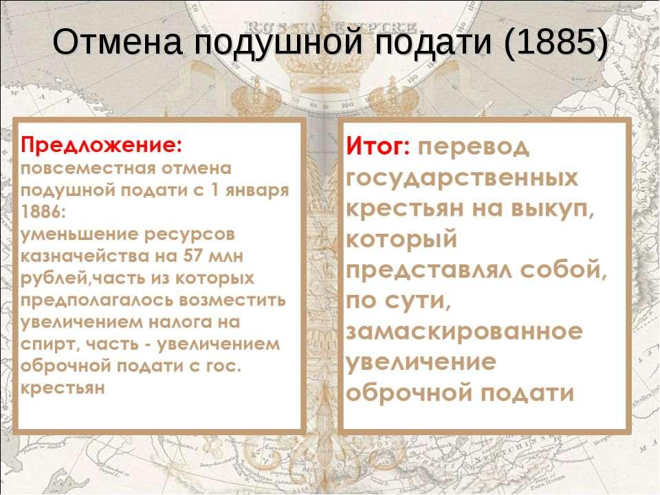Отмена подушной подати (1885)