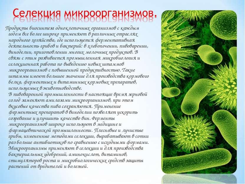 Продукты биосинтеза одноклеточных организмов с каждым годом все более широко ...