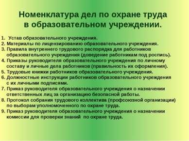 Номенклатура дел по охране труда в образовательном учреждении. Устав образова...