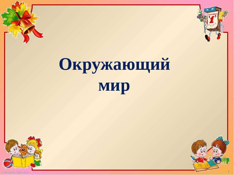 Окружающий мир FokinaLida.75@mail.ru