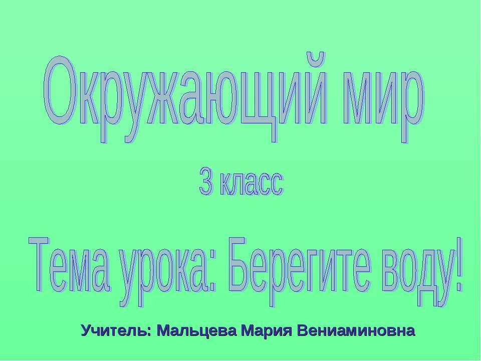 Учитель: Мальцева Мария Вениаминовна