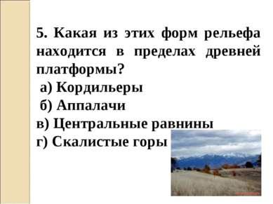 5. Какая из этих форм рельефа находится в пределах древней платформы? а) Корд...