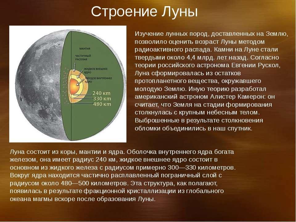 Строение Луны Изучение лунных пород, доставленных на Землю, позволило оценить...