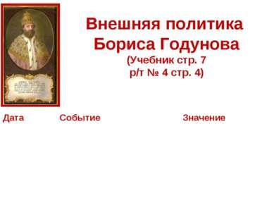 Внешняя политика Бориса Годунова (Учебник стр. 7 р/т № 4 стр. 4) Дата Событие...