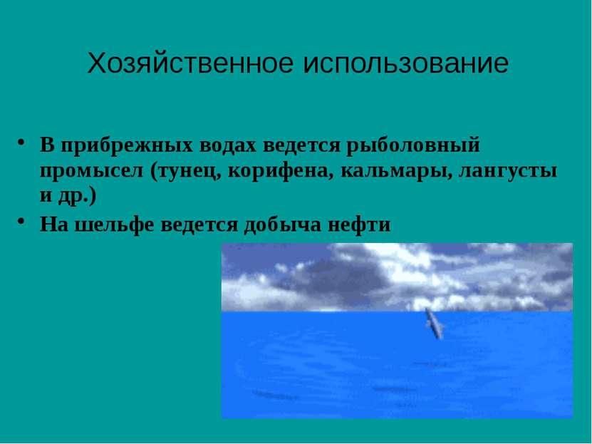 В прибрежных водах ведется рыболовный промысел (тунец, корифена, кальмары, ла...