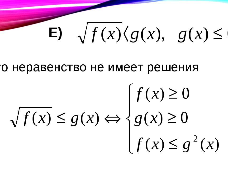 Е) то неравенство не имеет решения Ж)